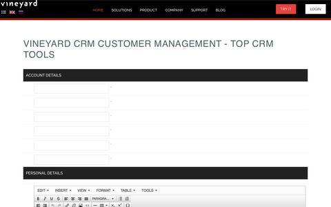 Screenshot of Signup Page vineyard.fi - Vineyard CRM Customer Management - Top CRM Tools - captured Nov. 4, 2014
