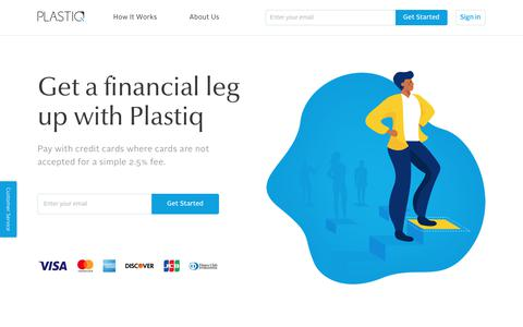 Screenshot of Home Page plastiq.com - Pay Any Bill with Credit Cards - Earn Rewards - Free Up Cash Flow | Plastiq - captured May 4, 2018