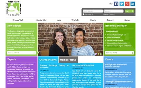 Screenshot of Home Page wkcci.com - West Kent Chamber of Commerce and Industry - captured Sept. 18, 2015