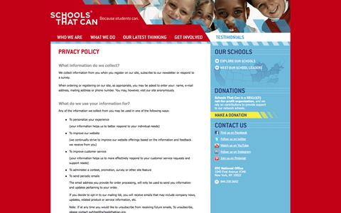 Screenshot of Privacy Page schoolsthatcan.org - Privacy Policy «  Schools That Can - captured Oct. 2, 2014