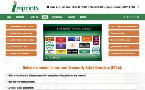 Screenshot of FAQ Page imprints.com - FAQs: Inventory Labels, Reflective Decals & Security Seals | Imprints - captured Oct. 11, 2018
