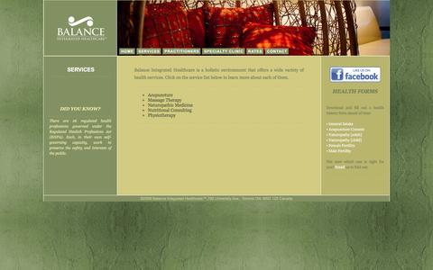 Screenshot of Services Page balanceih.com - Contact :: Balance Integrated Healthcare - captured Nov. 22, 2016