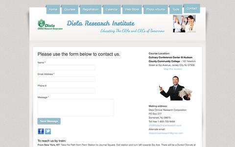 Screenshot of Contact Page webs.com - Disla Clinical Research Corporation - Contact - captured Sept. 13, 2014