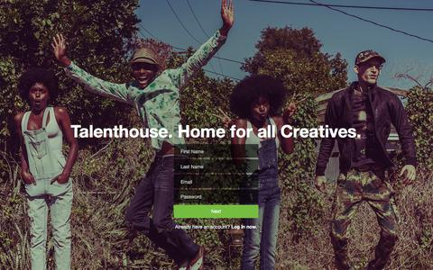 Screenshot of Signup Page talenthouse.com - Talenthouse - captured Jan. 12, 2016