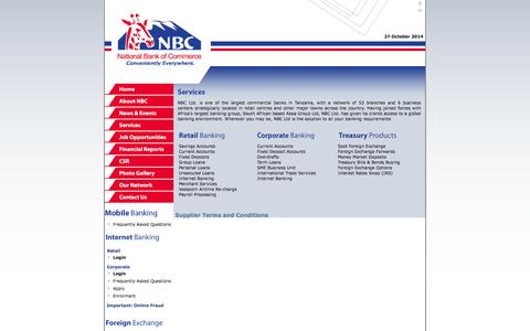 Screenshot of Services Page nbctz.com - National Bank of Commerce - Services - captured Oct. 26, 2014