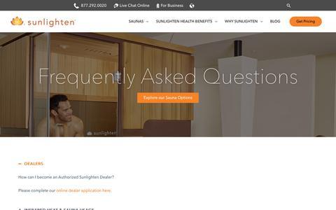 Screenshot of FAQ Page sunlighten.com - Frequently Asked Questions - Sunlighten - captured Oct. 19, 2018