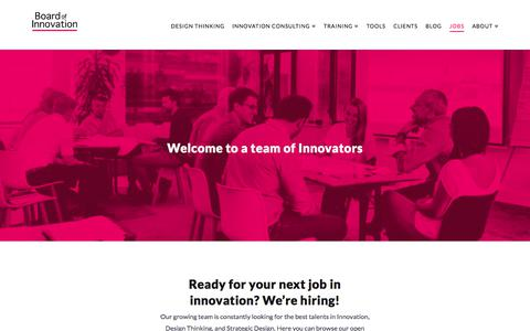 Screenshot of Jobs Page boardofinnovation.com - Jobs: Innovation Consultant / Design Strategist / Business Designer - captured Jan. 23, 2018