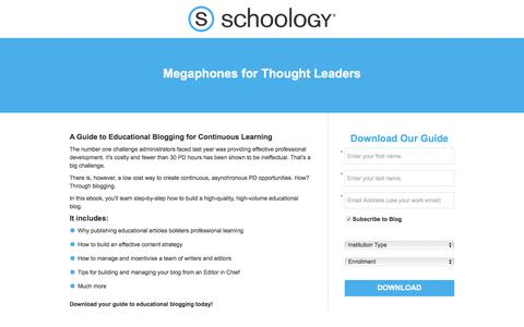 Screenshot of Landing Page schoology.com - A Guide to Educational Blogging for Continuous Learning - captured Jan. 23, 2018