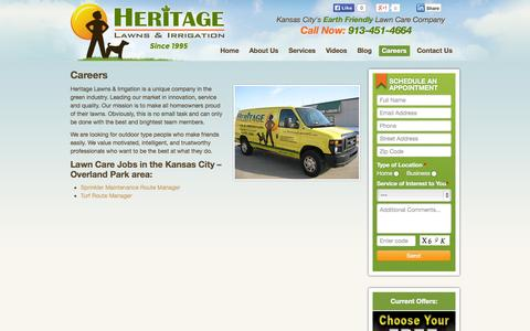 Screenshot of Jobs Page heritagelawnskc.com - Lawn Care Jobs in Kansas City, Careers in Lawn Care | Heritage Lawns - captured Oct. 2, 2014