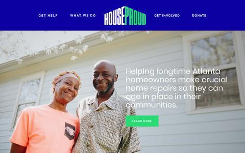 Screenshot of Home Page houseproudatlanta.org - HouseProud - captured July 23, 2018