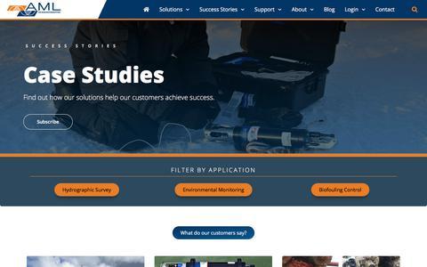 Screenshot of Case Studies Page amloceanographic.com - Case Studies - AML Oceanographic - captured July 28, 2018