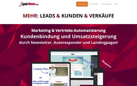 Screenshot of Home Page lead-motor.com - Marketing & Vertriebs-Automatisierung - Der Lead-Motor � Leadgenerierung - captured Nov. 12, 2015