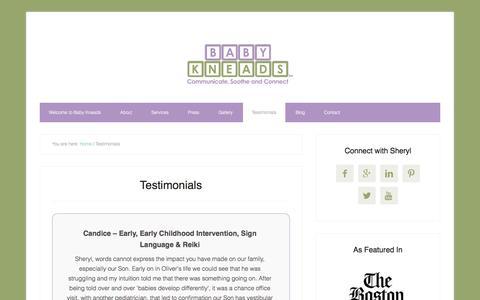 Screenshot of Testimonials Page babykneads.com - Testimonials - captured July 28, 2016