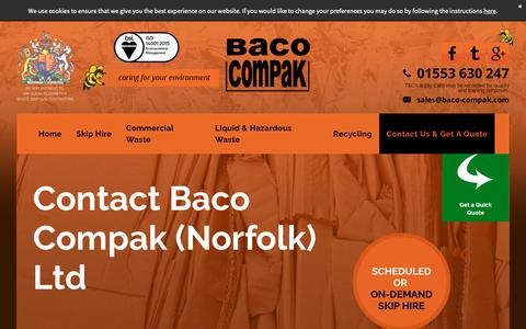 Screenshot of Contact Page bacocompakltd.co.uk - Contact Baco Compak for skip hire & waste management in Norfolk - captured Oct. 7, 2018