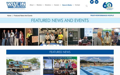 Screenshot of Press Page westonsolutions.com - Featured News And Events – Weston Solutions - captured Oct. 18, 2018