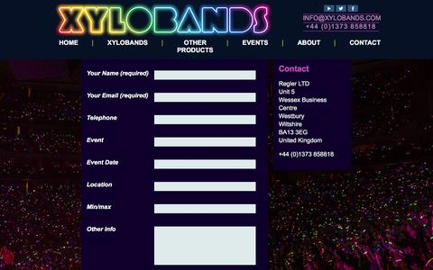 Screenshot of Contact Page xylobands.com - Contact details | Xylobands - captured Feb. 14, 2016