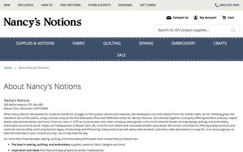 Screenshot of About Page nancysnotions.com - About Nancy's Notions - captured Sept. 20, 2018