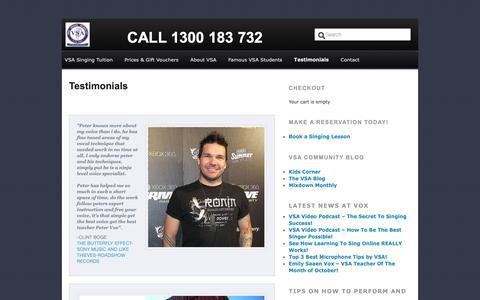 Screenshot of Testimonials Page voxsingingacademy.com.au - Testimonials - Vox Singing Academy - captured Oct. 18, 2018