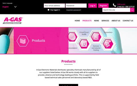 Screenshot of Products Page agasem.com - A-Gas Electronic Materials (Our Products) | A-Gas EM - captured Dec. 4, 2018