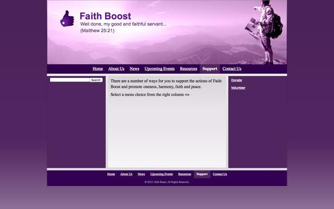 Screenshot of Support Page faithboost.com - Support - Faith Boost - captured Oct. 5, 2014