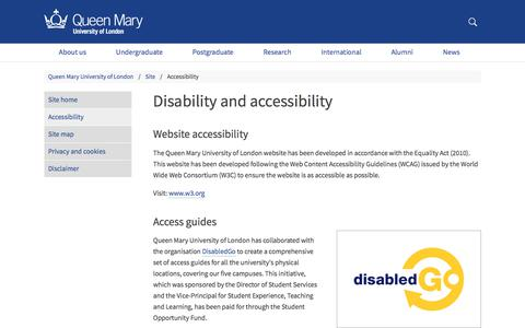 Disability and accessibility - Queen Mary University of London