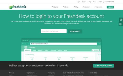 Screenshot of Login Page freshdesk.com - Login to your Freshdesk Account - captured Sept. 16, 2014