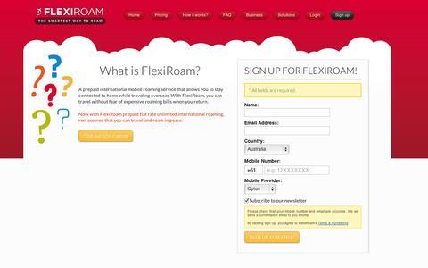 Screenshot of Signup Page flexiroam.com - FlexiRoam - captured Sept. 11, 2014