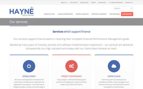 Screenshot of Services Page hayne.co - Our services   HAYNE Solutions - captured May 11, 2017