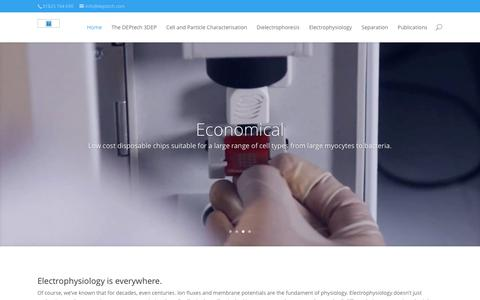 Screenshot of Home Page deptech.com - Deptech | Electrophysiology is everywhere - captured Jan. 7, 2016