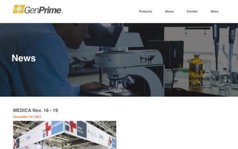 Screenshot of Press Page genprime.com - GenPrime - captured Jan. 27, 2016