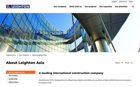 Screenshot of About Page leightonasia.com - About us | International construction contractor | Leighton Asia - captured Dec. 14, 2018