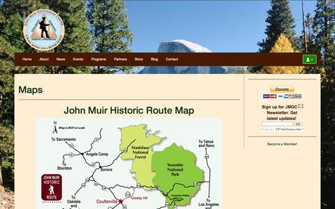 Screenshot of Maps & Directions Page johnmuir.us - Maps   John Muir Geotourism Center - captured Oct. 6, 2014