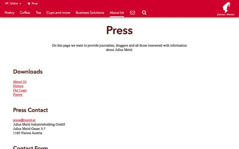 Screenshot of Press Page meinlcoffee.com - Press - Julius Meinl - captured Nov. 18, 2016