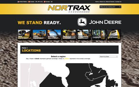 Screenshot of Locations Page nortrax.com - Nortrax-aJohnDeereConstructionandForestryDealer - Locations - captured Oct. 26, 2014