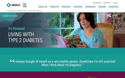 Screenshot of merck.com - Living with Type 2 Diabetes - captured July 1, 2016