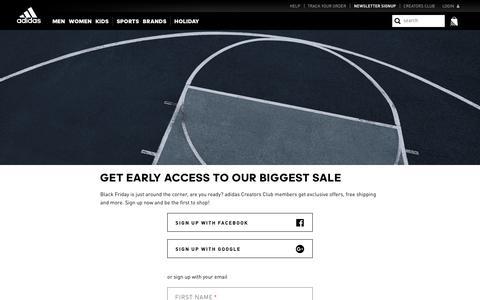 Screenshot of Signup Page adidas.com - adidas - captured Nov. 17, 2019