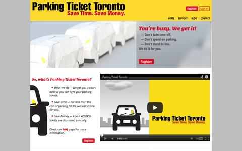 Screenshot of Home Page Blog Privacy Page Contact Page FAQ Page Support Page Login Page Terms Page parkingtickettoronto.com - Parking Ticket Toronto - captured Sept. 27, 2014
