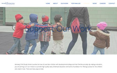Screenshot of Support Page kenchild.org - Support — Kennedy Child Study Center - captured Feb. 12, 2016