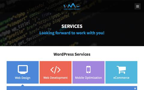 Screenshot of Services Page webmediaproject.com - WordPress Services - Web Media Project - Design & Development - captured Feb. 6, 2018