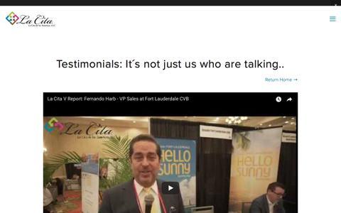 Screenshot of Testimonials Page lacitaamericas.com - Testimonials — La Cita de las Americas - captured Sept. 26, 2018