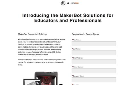 Screenshot of Landing Page makerbot.com - MakerBot Desktop 3D Printers - captured Dec. 25, 2016