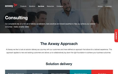 Screenshot of Services Page axway.com - Consulting Services | Axway Services | Axway Consulting Services - captured Sept. 21, 2018