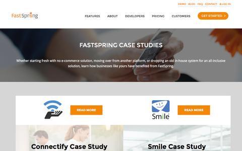 Screenshot of Case Studies Page fastspring.com - FastSpring Case Studies - captured Aug. 20, 2016