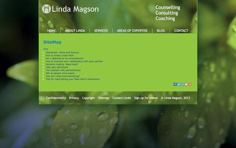 Screenshot of Site Map Page lindamagsoncounselling.com.au - SiteMap - Linda Magson Counselling Sydney - captured July 19, 2018