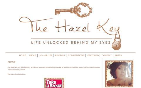 Screenshot of Press Page thehazelkey.com - Press - The Hazel Key - captured Feb. 15, 2016