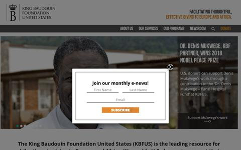 Screenshot of Home Page kbfus.org - KBFUS facilitates thoughtful, effective giving to Europe and Africa - captured Oct. 15, 2018
