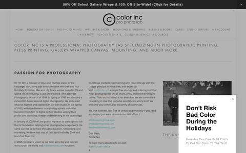 Screenshot of About Page colorincprolab.com - About — Color Inc Professional Photo and Home Decor Printing - captured Dec. 15, 2018