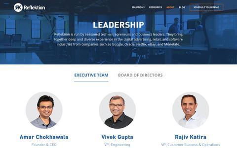 Screenshot of About Page Team Page reflektion.com - Leadership | Reflektion - captured Dec. 17, 2017