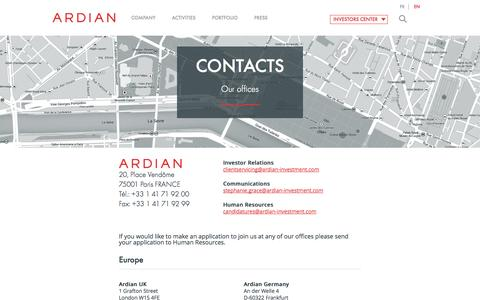 Screenshot of Contact Page ardian-investment.com - Contacts | ARDIAN - captured Oct. 4, 2014