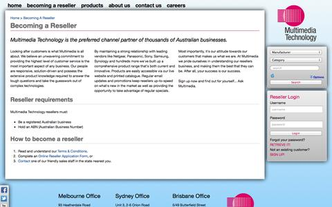 Screenshot of Signup Page mmt.com.au - Becoming a Reseller - Multimedia Technology - captured Oct. 26, 2014